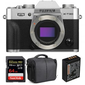 Fujifilm X-T30 Silver + SanDisk 64GB Extreme Pro UHS-I SDXC 170 MB/s + Fujifilm NP-W126S + Bolsa