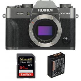 Fujifilm X-T30 Charcoal + SanDisk 64GB Extreme Pro UHS-I SDXC 170 MB/s + Fujifilm NP-W126S | 2 Years Warranty