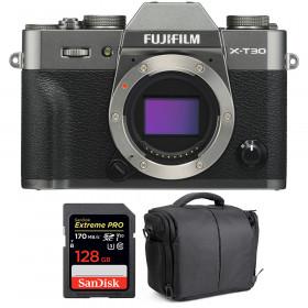 Fujifilm X-T30 Charcoal + SanDisk 128GB Extreme Pro UHS-I SDXC 170 MB/s + Bag | 2 Years Warranty
