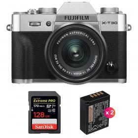 Fujifilm X-T30 + XC 15-45mm f/3.5-5.6 OIS PZ Silver + SanDisk 128GB UHS-I SDXC 170 MB/s + 2 NP-W126S | 2 Years Warranty