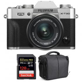 Fujifilm X-T30 + XC 15-45mm f/3.5-5.6 OIS PZ Silver + SanDisk 128GB UHS-I SDXC 170 MB/s + Bag | 2 Years Warranty