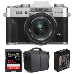 Fujifilm X-T30 + XC 15-45mm f/3.5-5.6 OIS PZ Silver + SanDisk 128GB UHS-I SDXC 170 MB/s + NP-W126S + Bag | 2 Years Warranty