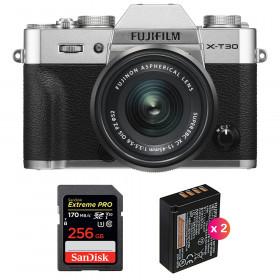 Fujifilm X-T30 + XC 15-45mm f/3.5-5.6 OIS PZ Silver + SanDisk 256GB UHS-I SDXC 170 MB/s + 2 NP-W126S | 2 Years Warranty