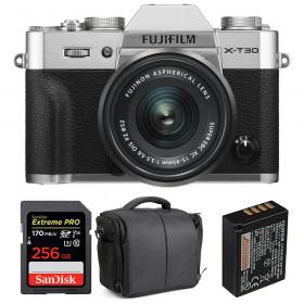 Fujifilm X-T30 + XC 15-45mm f/3.5-5.6 OIS PZ Silver + SanDisk 256GB UHS-I SDXC 170 MB/s + NP-W126S + Bag | 2 Years Warranty