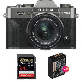Fujifilm X-T30 + XC 15-45mm f/3.5-5.6 OIS PZ Charcoal + SanDisk 64GB UHS-I SDXC 170 MB/s + 2 NP-W126S | 2 Years Warranty