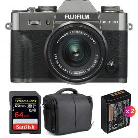 Fujifilm X-T30 + XC 15-45mm f/3.5-5.6 OIS PZ Charcoal + SanDisk 64GB UHS-I 170 MB/s + 2 NP-W126S + Bag | 2 Years Warranty
