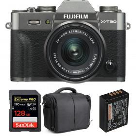 Fujifilm X-T30 + XC 15-45mm f/3.5-5.6 OIS PZ Charcoal + SanDisk 128GB UHS-I 170 MB/s + NP-W126S + Bag | 2 Years Warranty