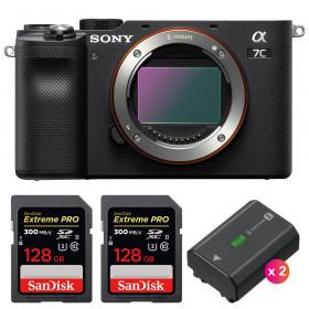 Sony Alpha a7C Nu Noir + 2 SanDisk 128GB Extreme PRO UHS-II SDXC 300 MB/s + 2 Sony NP-FZ100