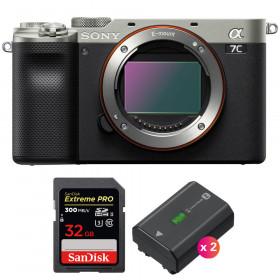 Sony Alpha a7C Cuerpo Silver + SanDisk 32GB Extreme PRO UHS-II SDXC 300 MB/s + 2 Sony NP-FZ100