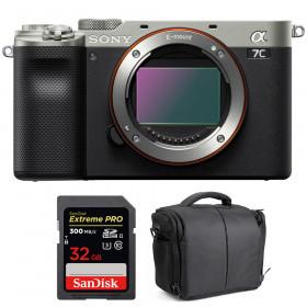 Sony Alpha a7C Cuerpo Silver + SanDisk 32GB Extreme PRO UHS-II SDXC 300 MB/s + Bolsa
