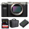Sony Alpha a7C Body Silver + SanDisk 32GB Extreme PRO UHS-II SDXC 300 MB/s + Sony NP-FZ100 + Bag | 2 Years Warranty