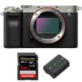 Sony Alpha a7C Nu Silver + SanDisk 64GB Extreme PRO UHS-II SDXC 300 MB/s + Sony NP-FZ100