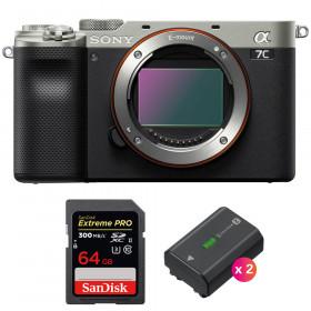 Sony Alpha a7C Nu Silver + SanDisk 64GB Extreme PRO UHS-II SDXC 300 MB/s + 2 Sony NP-FZ100