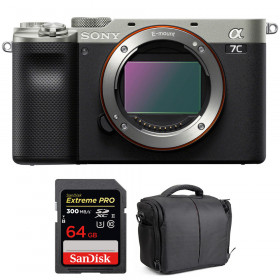 Sony Alpha a7C Cuerpo Silver + SanDisk 64GB Extreme PRO UHS-II SDXC 300 MB/s + Bolsa