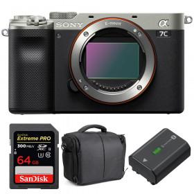 Sony Alpha a7C Cuerpo Silver + SanDisk 64GB Extreme PRO UHS-II SDXC 300 MB/s + Sony NP-FZ100 + Bolsa
