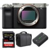 Sony Alpha a7C Body Silver + SanDisk 64GB Extreme PRO UHS-II SDXC 300 MB/s + Sony NP-FZ100 + Bag | 2 Years Warranty