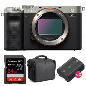 Sony Alpha a7C Cuerpo Silver + SanDisk 64GB Extreme PRO UHS-II SDXC 300 MB/s + 2 Sony NP-FZ100 + Bolsa | 2 años de garantía