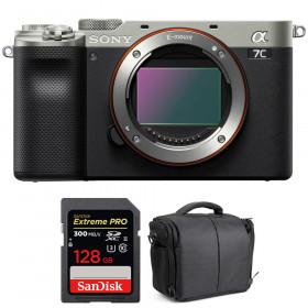 Sony Alpha a7C Cuerpo Silver + SanDisk 128GB Extreme PRO UHS-II SDXC 300 MB/s + Bolsa