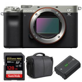 Sony Alpha a7C Cuerpo Silver + SanDisk 128GB Extreme PRO UHS-II SDXC 300 MB/s + Sony NP-FZ100 + Bolsa