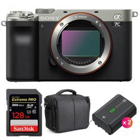 Sony Alpha a7C Cuerpo Silver + SanDisk 128GB Extreme PRO UHS-II SDXC 300 MB/s + 2 Sony NP-FZ100 + Bolsa