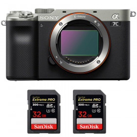 Sony Alpha a7C Cuerpo Silver + 2 SanDisk 32GB Extreme PRO UHS-II SDXC 300 MB/s