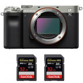 Sony Alpha a7C Cuerpo Silver + 2 SanDisk 32GB Extreme PRO UHS-II SDXC 300 MB/s | 2 años de garantía