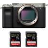 Sony Alpha a7C Body Silver + 2 SanDisk 32GB Extreme PRO UHS-II SDXC 300 MB/s   2 Years Warranty