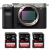 Sony Alpha a7C Body Silver + 3 SanDisk 32GB Extreme PRO UHS-II SDXC 300 MB/s | 2 Years Warranty