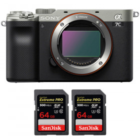 Sony Alpha a7C Cuerpo Silver + 2 SanDisk 64GB Extreme PRO UHS-II SDXC 300 MB/s