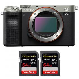 Sony Alpha a7C Cuerpo Silver + 2 SanDisk 64GB Extreme PRO UHS-II SDXC 300 MB/s | 2 años de garantía