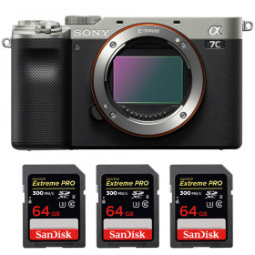 Sony Alpha a7C Cuerpo Silver + 3 SanDisk 64GB Extreme PRO UHS-II SDXC 300 MB/s