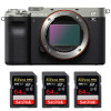 Sony Alpha a7C Body Silver + 3 SanDisk 64GB Extreme PRO UHS-II SDXC 300 MB/s | 2 Years Warranty