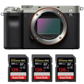 Sony Alpha a7C Nu Silver + 3 SanDisk 128GB Extreme PRO UHS-II SDXC 300 MB/s