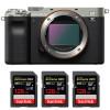 Sony Alpha a7C Body Silver + 3 SanDisk 128GB Extreme PRO UHS-II SDXC 300 MB/s | 2 Years Warranty