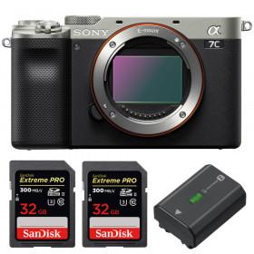 Sony Alpha a7C Cuerpo Silver + 2 SanDisk 32GB Extreme PRO UHS-II SDXC 300 MB/s + 1 Sony NP-FZ100