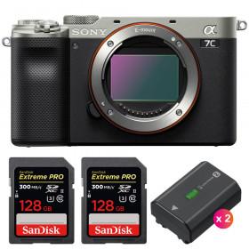 Sony Alpha a7C Cuerpo Silver + 2 SanDisk 128GB Extreme PRO UHS-II SDXC 300 MB/s + 2 Sony NP-FZ100
