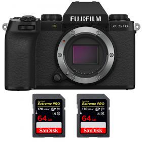 Fujifilm X-S10 ( XS10 ) Nu + 2 SanDisk 64GB Extreme Pro UHS-I SDXC 170 MB/s