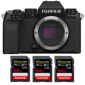 Fujifilm X-S10 ( XS10 ) Nu + 3 SanDisk 64GB Extreme Pro UHS-I SDXC 170 MB/s