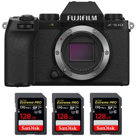 Fujifilm X-S10 ( XS10 ) Nu + 3 SanDisk 128GB Extreme Pro UHS-I SDXC 170 MB/s