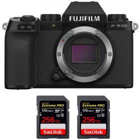 Fujifilm X-S10 ( XS10 ) Nu + 2 SanDisk 256GB Extreme Pro UHS-I SDXC 170 MB/s