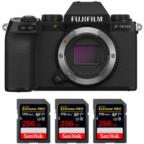 Fujifilm X-S10 ( XS10 ) Nu + 3 SanDisk 256GB Extreme Pro UHS-I SDXC 170 MB/s