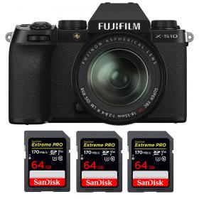 Fujifilm X-S10 ( XS10 ) + XF 18-55mm f/2.8-4 R LM OIS + 3 SanDisk 64GB Extreme Pro UHS-I SDXC 170 MB/s