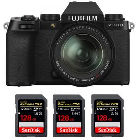 Fujifilm X-S10 ( XS10 ) + XF 18-55mm f/2.8-4 R LM OIS + 3 SanDisk 128GB Extreme Pro UHS-I SDXC 170 MB/s