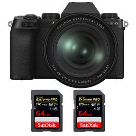 Fujifilm X-S10 ( XS10 ) + XF 16-80 F/4 WR + 2 SanDisk 64GB Extreme Pro UHS-I SDXC 170 MB/s