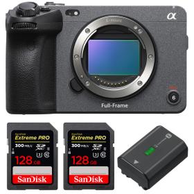 Sony FX3 Camera Cinéma + 2 SanDisk 128GB Extreme PRO UHS-II SDXC 300 MB/s + 1 Sony NP-FZ100